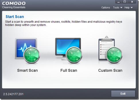 Comodo Cleaning Essentials 3 modalità di scansione