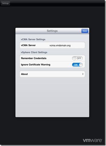 iPad vSphere Client Settings