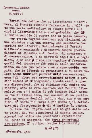Lettera di Croce su Partito Liberale né di Destra né di Sinistra (Croce 1951)