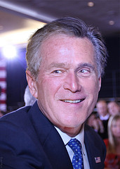 Composite photo of Mitt Romney and George W. Bush