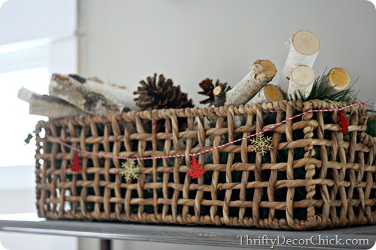 basket with birch logs