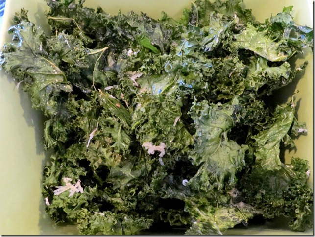 Kale Chips (425 then oven off for 14 min.)