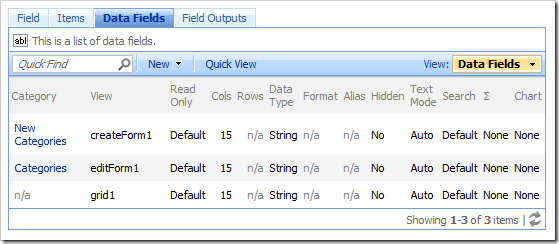 Data fields for a field are accessible via the Data Fields tab on the Field page.
