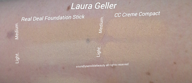 Laura Geller Real Deal Foundation Stick; Review & Swatches of Shades Light & Medium, Tan,