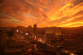 The Las Vegas Strip in a stunning orange and red sunset
