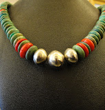 Handmade Silver Beads w/Turq. & Coral - Sold
