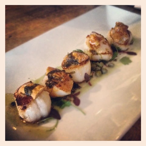 Scallops with black pudding crumble