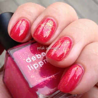 Deborah Lippmann Sweet Dreams over OPI Jelly Sandwich - Too Hot Pink To Hold 'Em with Pink Me I'm Good  (2)