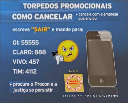 como cancelar torpedo promocional no celular
