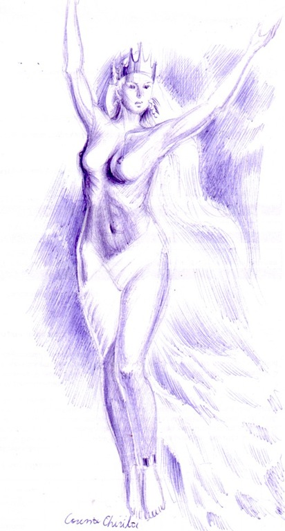 Regina in zbor desenin pix - Winter misstres queen ballpoint pen drawing