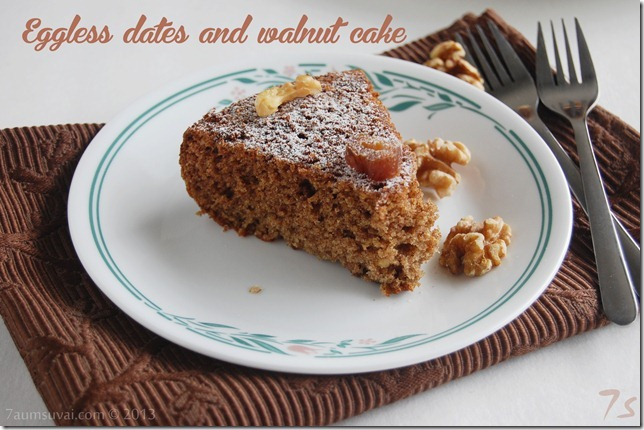 Eggless dates and walnut cake