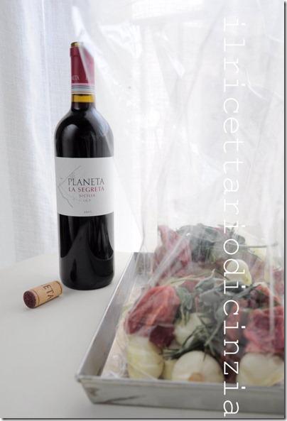 spezzatino al vino rosso e cipolline nel saccoccio home made