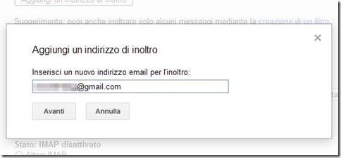 Gmail Aggiungi un indirizzo di inoltro