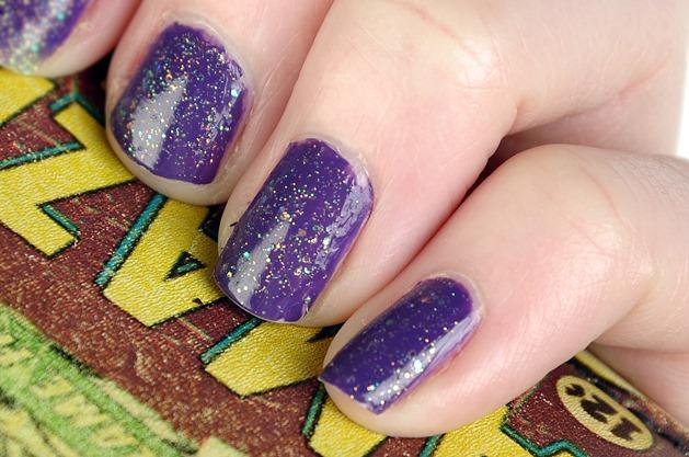 sinful colors nail polish ufa amethyst NOTD purple orange glitter swatch