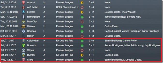 Last fixtures