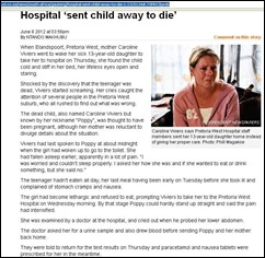 VIVIERS Caroline Poppy 13 hospital sent her child home to die with paracetamol died June7 2012.jpg NTHANDO MAKHUBU article