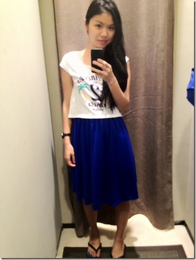 Bershka cropped tee x mullet royal blue dress