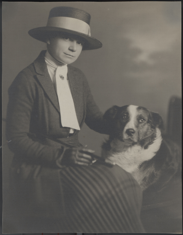 Dorothy Putnam with Shep in an advertisement for Bullochs Sportswear. Los Angeles, CA. 1918.