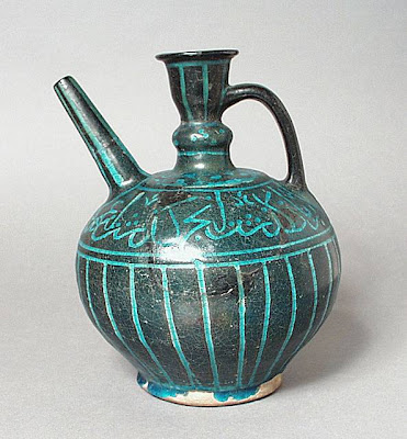 Ewer Iran, Kashan Ewer, 13th century Ceramic; Vessel, Fritware, underglaze-painted, 8 3/8 x 5 5/16 in. (21.27 x 13.46 cm) The Nasli M. Heeramaneck Collection, gift of Joan Palevsky (M.73.5.293) Art of the Middle East: Islamic Department.