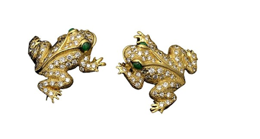 Naturally, when I saw these earrings I fell in love because I just ADORE frogs. Do I NEED a pair of 14kt gold and diamond frog earrings? Maybe not. But honestly, how great are they?! ($6,950, scullyandscully.com)