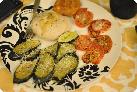 tilapia, zucchini, tomatoes
