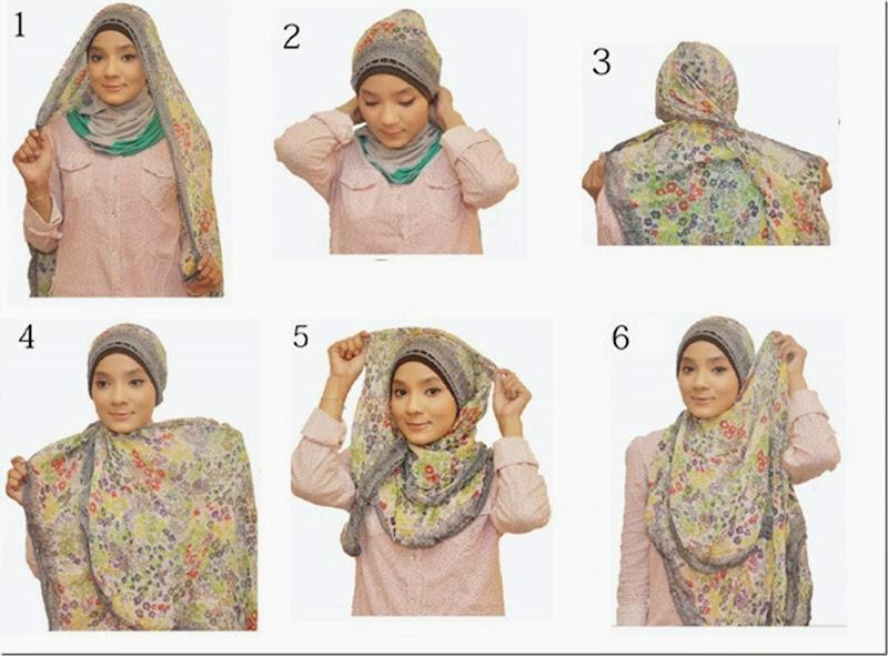 6 Langkah Kreasi Simple Jilbab Segi Empat terbaru 2013