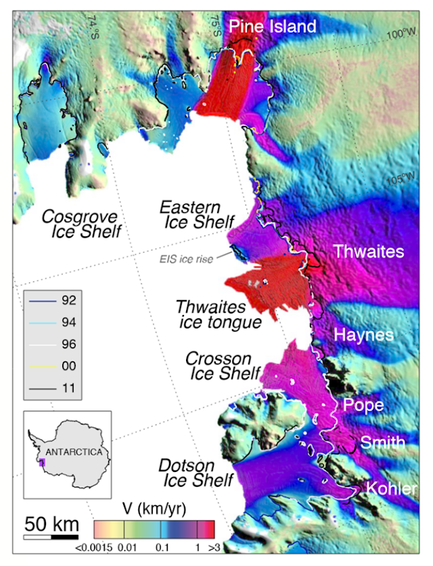 Velocity of the Amundsen Sea Embayment (ASE) sector of West Antarctica derived using ERS-1/2 radar data in winter 1996 with a color coding on a logarithmic scale and overlaid on a MODIS mosaic of Antarctica. Interferometrically-derived grounding lines of the glaciers are shown in color code for years 1992, 1994, 1996, 2000, and 2011, with glacier and ice shelf names. Note that for Pine Island and Smith/Kohler, the figure merges two independent differential interferograms to show a more complete spatial coverage of grounding lines. Graphic: Rignot, et al., 2014