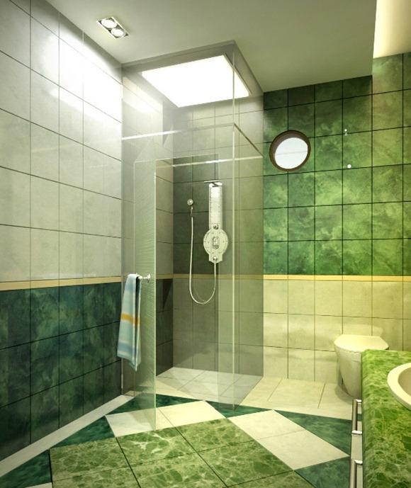 Baño Verde Con Blanco:18 Diseños de Baños en color verde – iDecorar