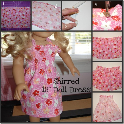 Shirred 18 doll dress