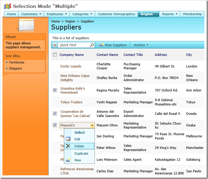 Multiple row selection mode enabled in a data view of a web app created with Code On Time web application generator