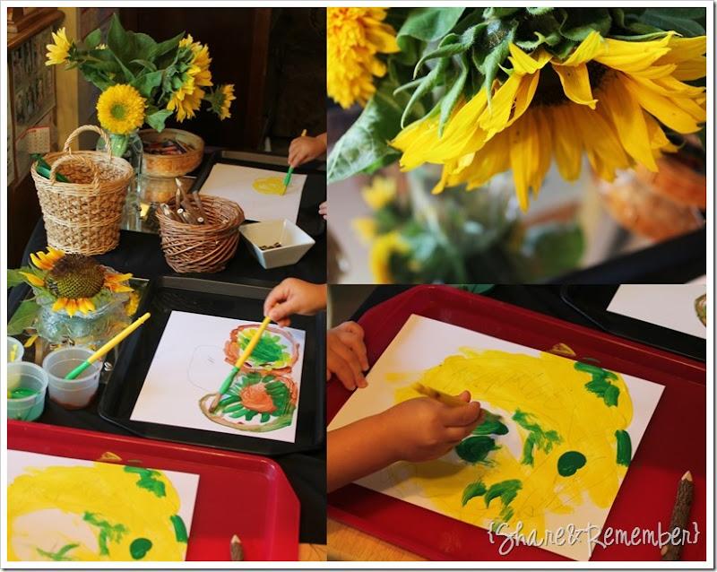 Painting Sunflowers in Preschool