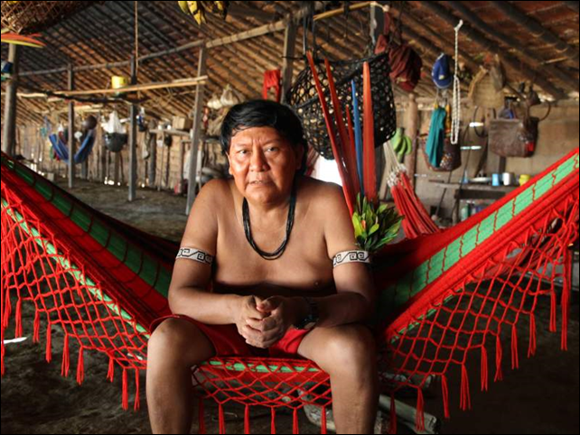 Davi Kopenawa Yanomami, a shaman and internationally renowned spokesman for the Yanomami people of Brazil. Photo: Leila Salazar-Lopez / Amazon Watch