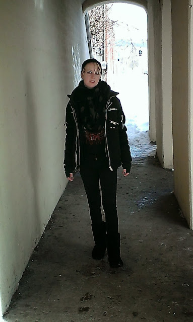 coat - Vixxsin | scarf - Charlotte Russe | hat - unknown | jeans - Lovesick | boots - Bearpaw | t-shirt - Slayer, goth industrial style fashion, tattooed pierced alternative model musician Raivyn dK