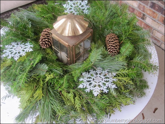 plumberry pie wreath as centerpiece