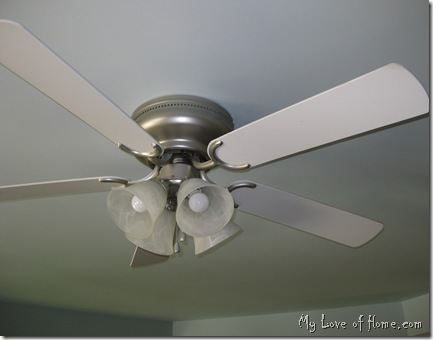 Ceiling Fan, Brushed Nickle Spray Paint, white, bedroom