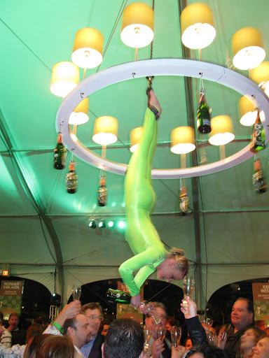 Ordinary bartenders were no match for this acrobat.  Of course, the service was a little slower at the chandelier...
