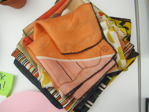 My scarves collection brings a boost of color and energy to the desk. I collect vintage scarves.