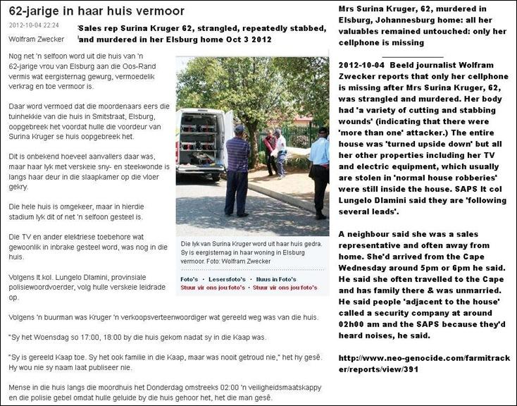 Kruger SURINA murdered Smit Street Elsburg Johannesburg East Rand Oct32012 2am
