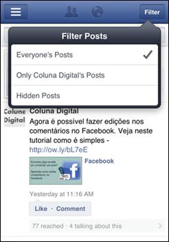 Mural de uma página no Facebook Pages Manager