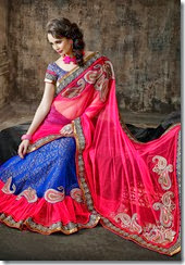 Royal Blue and pink lehenga Saree - Kopanaa