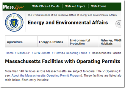 Massachusettes Facilities with operating permits Title V air permits