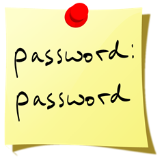 Password on a Post-it note