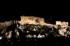 A view of the Acropolis at night.