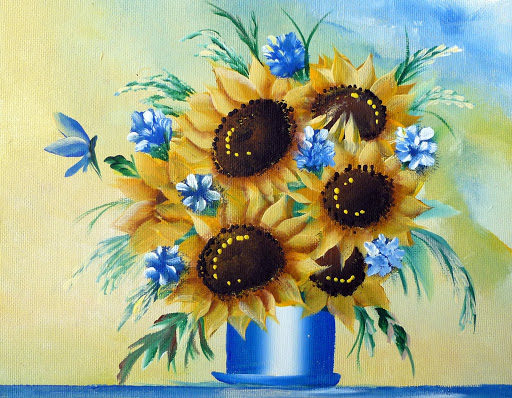 One Stroke Painting Sunflowers http://picasaweb.google.com/lh/photo/EcxKGzBH0g-fgzytA6p-pA