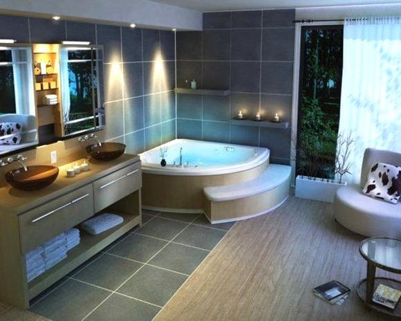 Luces empotradas en un cuarto de baño moderno