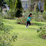 kid running through park at huis ten bosch in Sasebo, Nagasaki, Japan