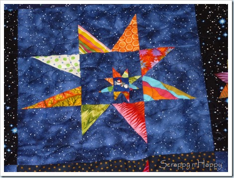 wonky star space quilt star in a star block