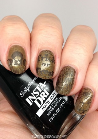 Halloween Nail Art with BM-H07 and Sally Hansen Scaredy Matte