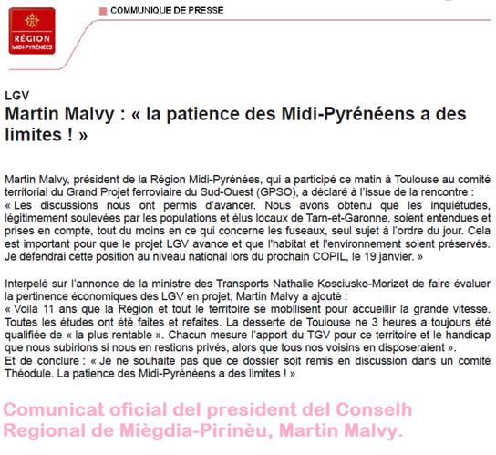 comunicat oficial del president del CR de Miègdia-Pirinèu a prepaus de la LGV
