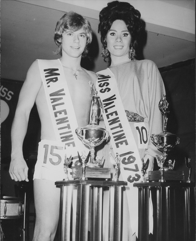 Mr. and Miss Valentine Contest champions Robert Phillips and Miss Anita Day. 1973.